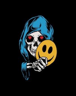 Crânio com emoticon de máscara de sorriso