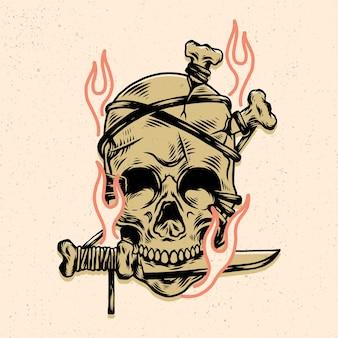 Crânio com espada para design de camisetas ou mercadoria