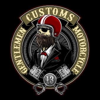 Crânio com estilo de cavalheiros e distintivo de motociclista capacete retrô
