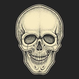 Crânio com estilo dotwork.
