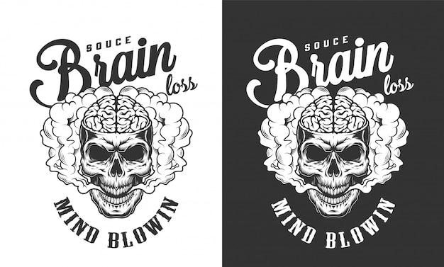 Crânio com etiqueta do cérebro humano