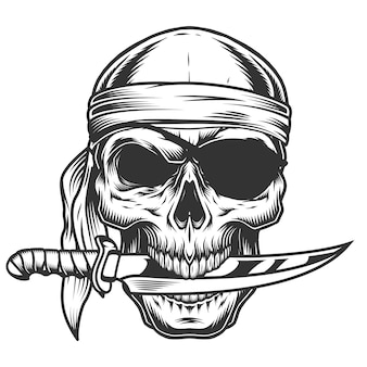 Crânio com faca