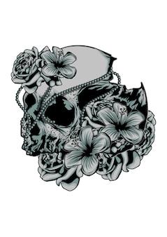 Crânio com flor
