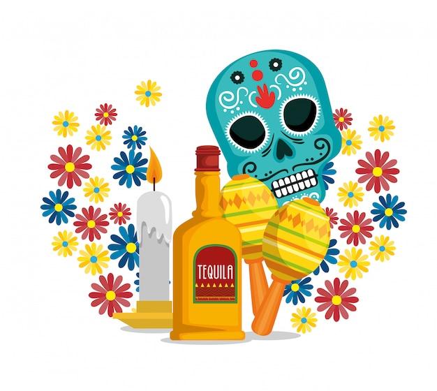 Crânio com flores e tequila para comemorar o evento