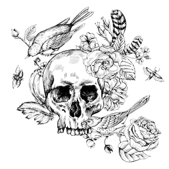 Crânio com flores, rosas, pássaros e penas