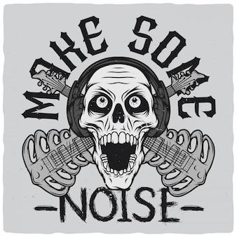 Crânio com fones de ouvido e guitarras estilizadas