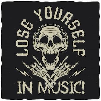 Crânio com fones de ouvido e mãos de esqueleto