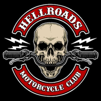 Crânio com guidão da motocicleta, adequado para o logotipo do clube de motocicletas