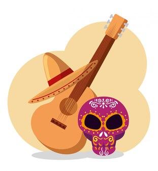 Crânio com guitarra e chapéu para o dia dos mortos
