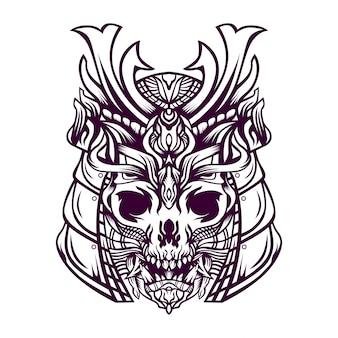 Crânio com ilustração de capacete samurai