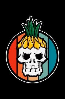Crânio com ilustração de chapéu de abacaxi retrô vintage