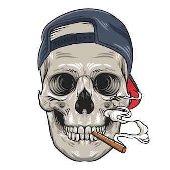 Crânio com ilustração de charuto e boné
