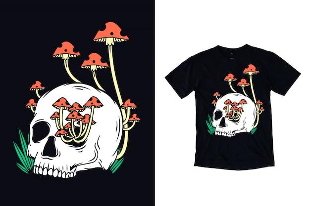 Crânio com ilustração de cogumelo para camiseta