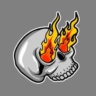 Crânio com ilustração de flama