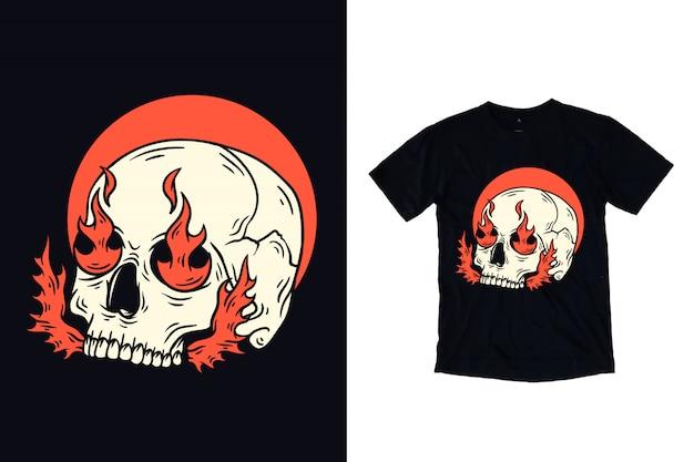 Crânio com ilustração de fogo para design de camiseta