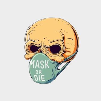 Crânio com ilustração de máscara. desenhado à mão.