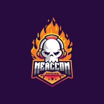 Crânio com ilustração de mascote de logotipo de fogo