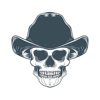Crânio com ilustração de obras de arte vintage de chapéu