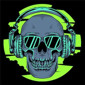 Crânio com ilustração de óculos e fone de ouvido