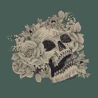 Crânio com ilustração de ornamento de flora