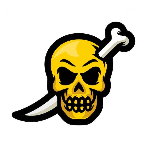 Crânio com ilustração em vetor logotipo espada mascote de ossos