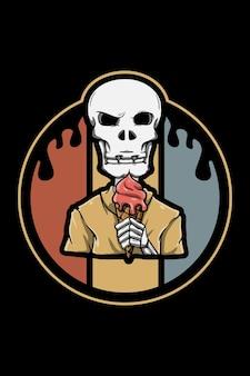 Crânio com ilustração retrô vintage de sorvete