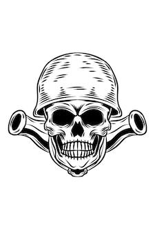 Crânio com ilustração vetorial de canhão