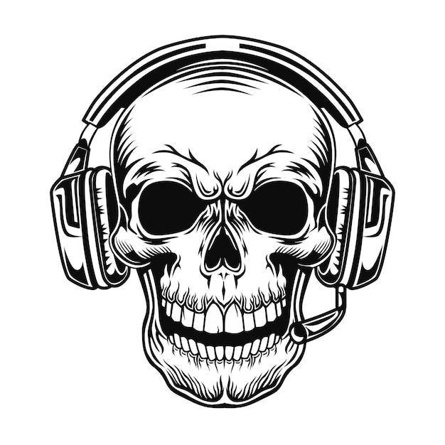 Crânio com ilustração vetorial de fone de ouvido. cabeça de personagem em fones de ouvido