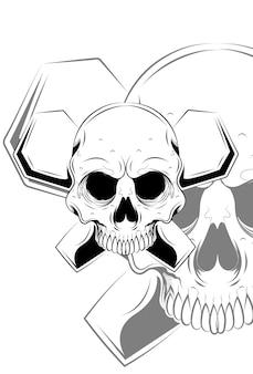 Crânio com ilustração vetorial grave