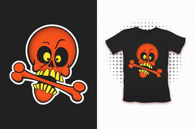 Crânio com impressão de osso para design de t-shirt
