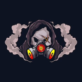 Crânio com máscara de gás