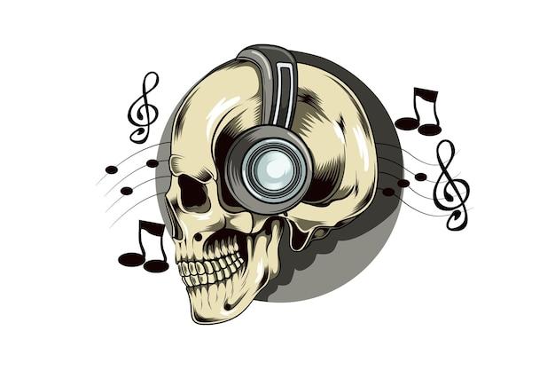 Crânio com melodia no vetor cabeça