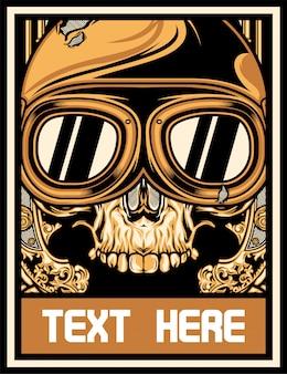 Crânio com óculos de motocicleta