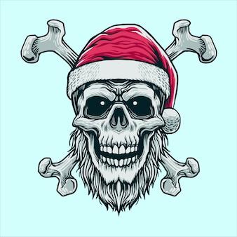 Crânio com osso cruzado cabeça de papai noel