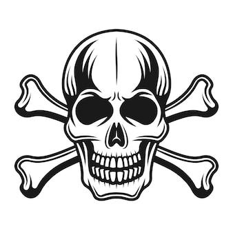 Crânio com ossos cruzados ilustração vista frontal detalhada