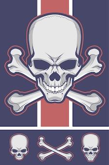 Crânio com ossos cruzados.
