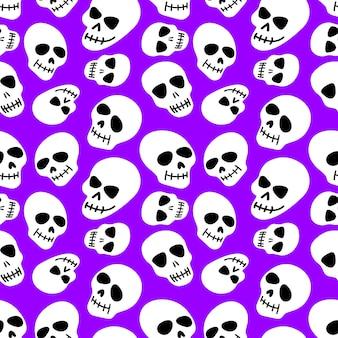 Crânio com padrões de crânios em um fundo roxo