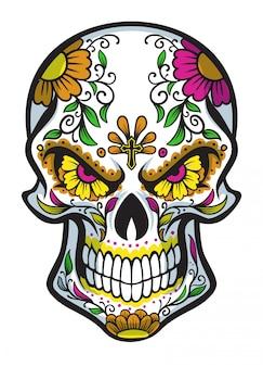 Crânio com pintura de rosto de dia de los muertos