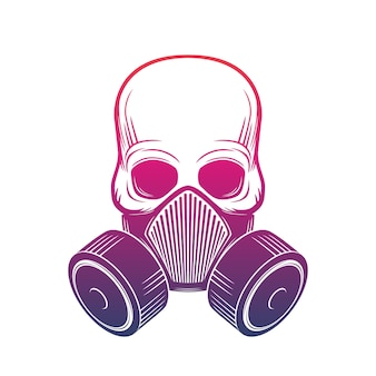 Crânio com respirador, máscara de gás sobre branco, ilustração vetorial