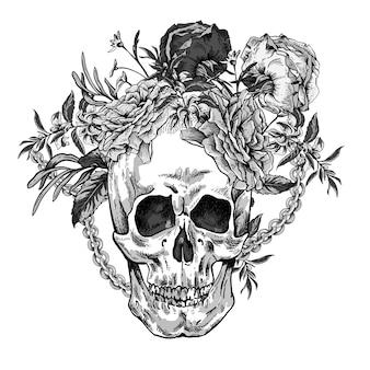 Crânio com rosas, correntes e flores silvestres dia dos mortos