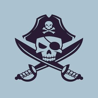 Crânio com sabres cruzados. arte do conceito de pirata em estilo monocromático.