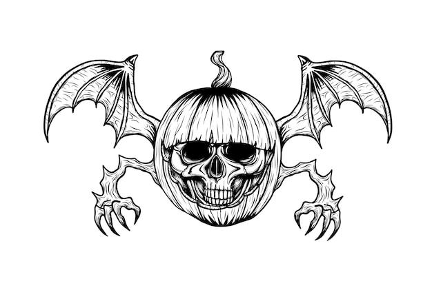 Crânio com tatuagem de abóbora de halloween à mão de desenho.