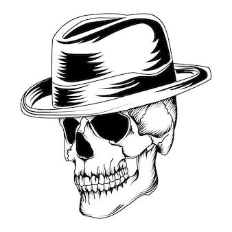 Crânio com um chapéu de cowboy