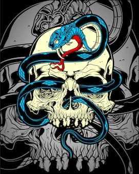 Crânio com vetor de cobra