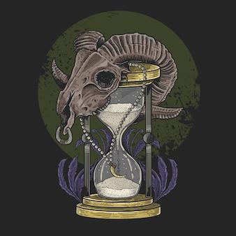 Crânio cordeiro hora vidro
