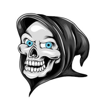 Crânio da cabeça do ceifador com seus olhos azuis e usando a fantasia preta