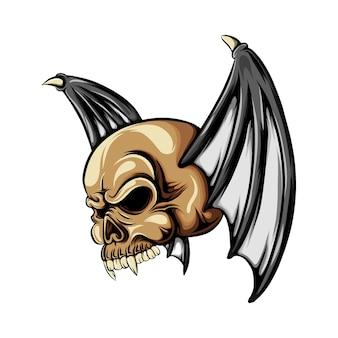 Crânio da cabeça do drácula com as duas asas de morcego com chifre pequeno