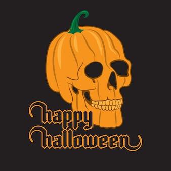 Crânio de abóbora de halloween em fundo preto. poster feliz dia das bruxas