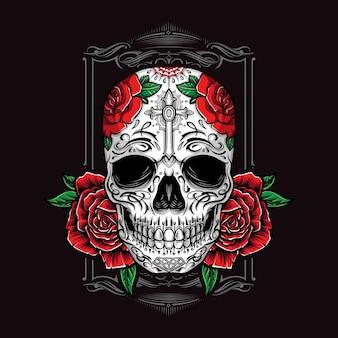 Crânio de açúcar com enfeite de rosas
