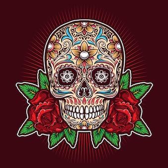 Crânio de açúcar com logotipo de rosas